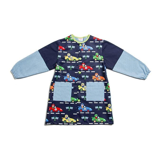 Dyneke Bata escolar botón azul Carreras (personalización opcional gratuita con nombre bordado) (Talla