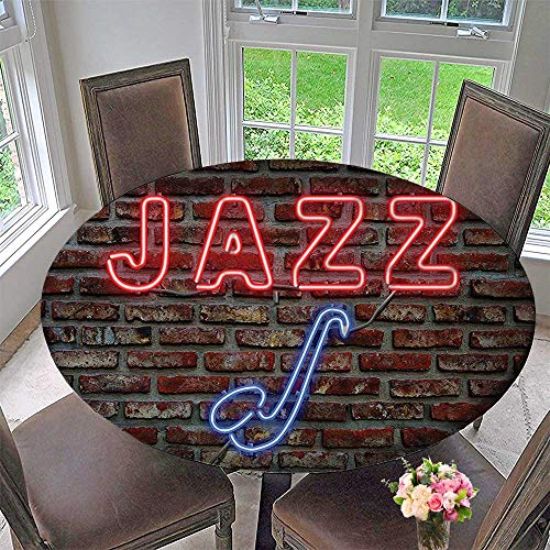 (Mikihome Round Tablecloth Decor Image of Bright Neon All Jazz Sign with Saxophone on Brick Wall for Kitchen 55
