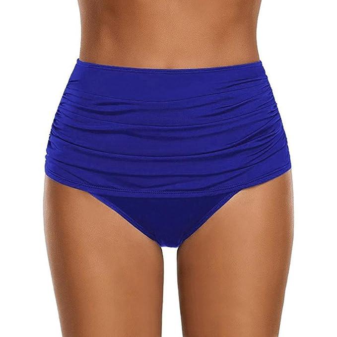 f1a80f63b4d7f Huihong Bikini Bottom Damen Sexy Hohe Taille Geraffte Bademode Slip ...