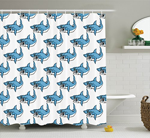 Fish Shower Curtain Set Sea Animals Decor by Ambesonne, Fierce Predator Wild Shark Swimming Teeth Bite Nautical Theme Pattern, Bathroom Accessories, With Hooks, 69W X 70L Inches, Blue White (Shark Themed Bathroom)