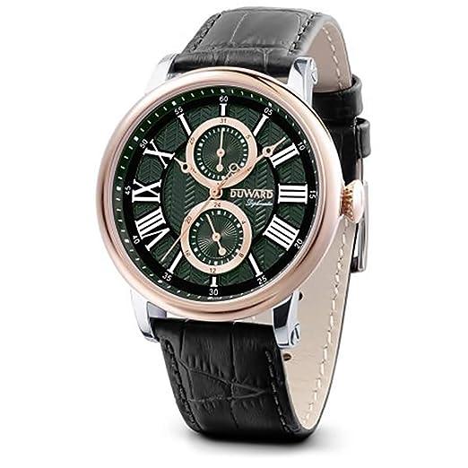 DUWARD Reloj para Hombre Analógico Cuarzo con Correa de Piel de Vaca D85703.83: Amazon.es: Relojes