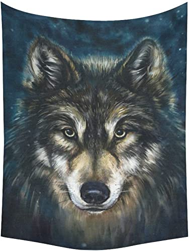 INTERESTPRINT Animal Wall Art Home Decor, Painting Wolf Head Tapestry Wall Hanging Art Sets 80 X 60 Inches