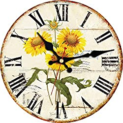 ShuaXin Wall Clock Classic Flower Country Style Round Wooden Clock (6, B)