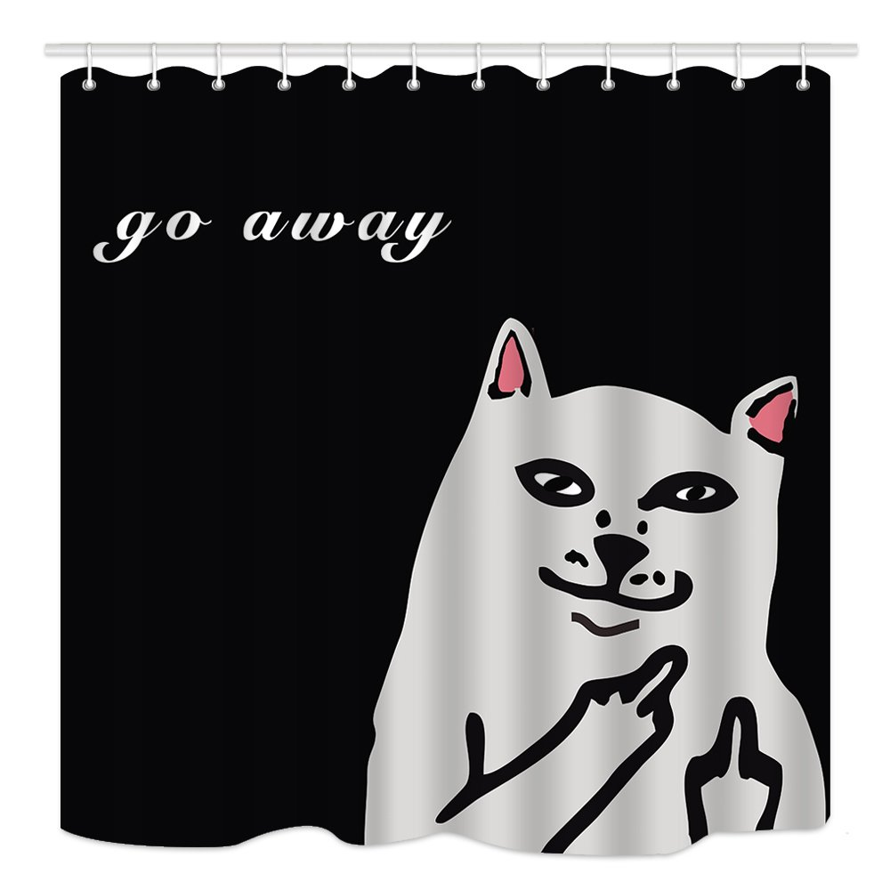 DYNH Cartoon Animals Shower Curtain, Funny Cats Sarcasm Go Away, Waterproof Polyester Fabric Bathroom Decor, Bath Curtains Accessories, with Hooks, 69X70 Inches