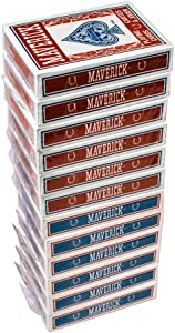Maverick Standard Playing Cards 12 Pack, Poker Size Standard Index, 12 Decks of Cards (6 Blue and 6 Red), Blackjack, Euchre, Canasta, Pinochle Card Game