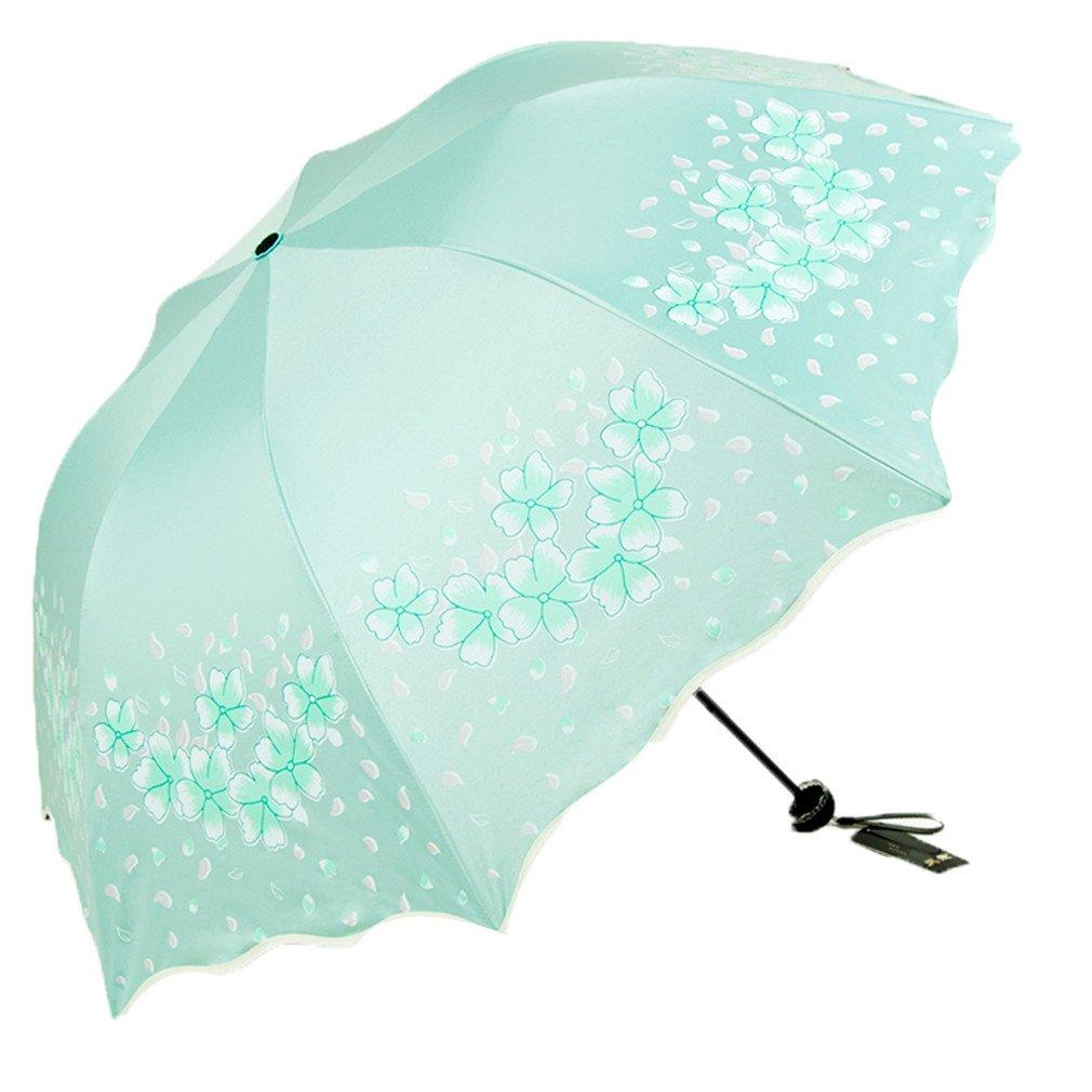 Guoke The Black Plastic Sunscreen Uv Protection Umbrellas Girl Three Fold Fine Rain Two Small Fresh And Sunny Umbrella, Green