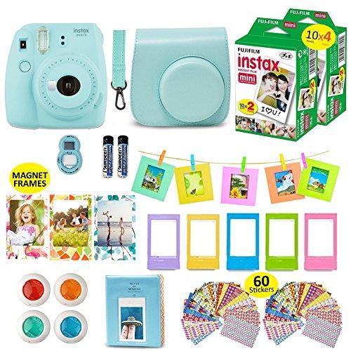 Fujifilm Instax Mini 9 Camera Bundle (Ice Blue) + Instant Camera Film 40 Sheets + Instax Case + Instax Camera Accessories Bundle, 2 Albums, 4 Color Lenses, Selfie Lens, 5 Desk Frames + 60 Stickers
