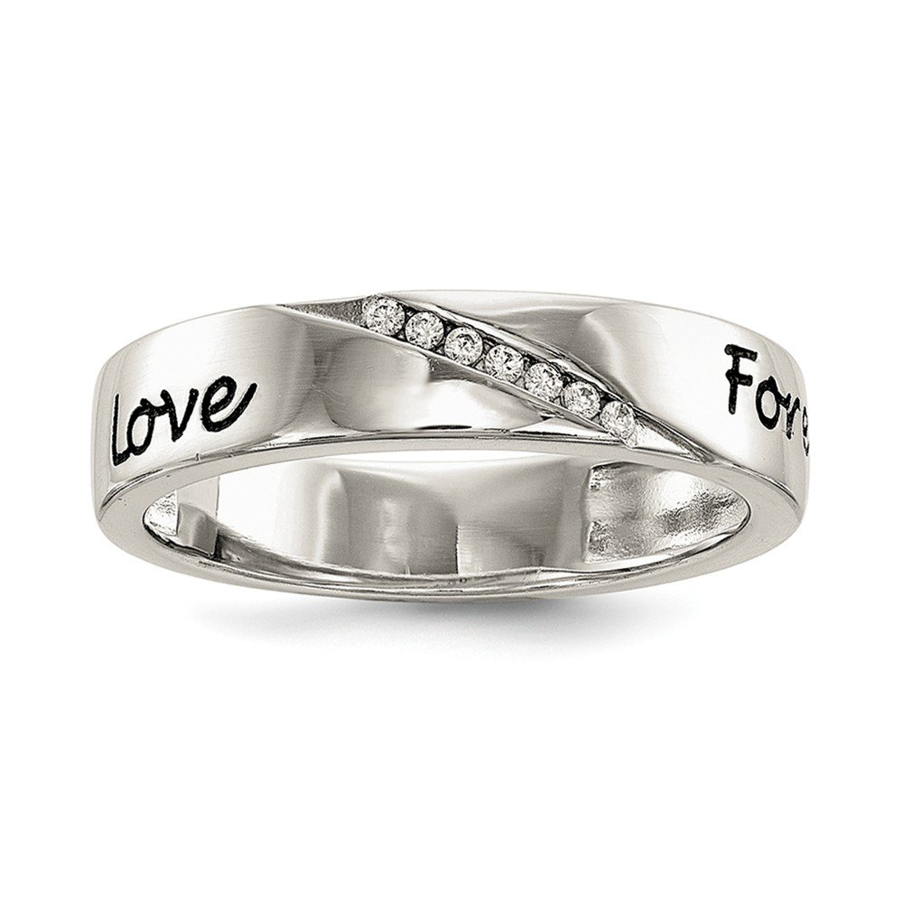 Jewelry Best Seller Sterling Silver CZ Enameled Love Forever Ring