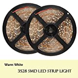 FAVOLCANO Waterproof 12V Flexible LED Strip Light, LED Tape, 600 LED's, 3528 SMD, 5 Meter/Roll (Warm White, 2-Roll)