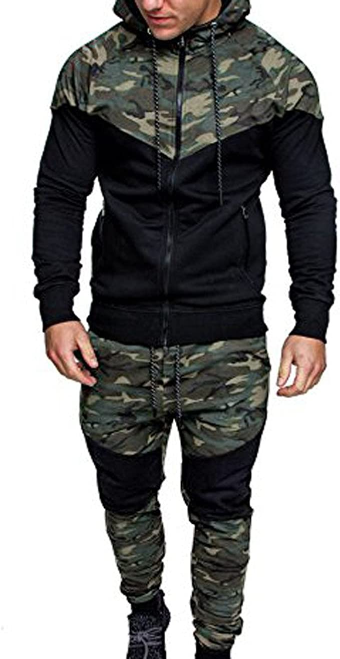 Men/'s Camouflage Hooded Full Front Zip Closure Fleece Tracksuits Top And Bottoms