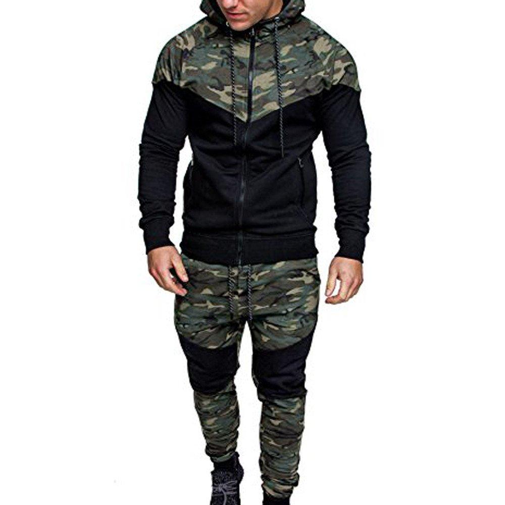 Men's Autumn Winter Tracksuit Clearance Camouflage Patchwork Sweatshirt Top Pants Sets Sports Suit (L, Camouflage)