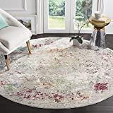 Safavieh Mystique Collection MYS923R Vintage Watercolor Grey and Multi Round Distressed Area Rug (6'7″ in Diameter)