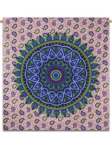 Green Blue Beautiful Rangoli Mandala Tapestry By Royal Export Beautiful Handmade art work