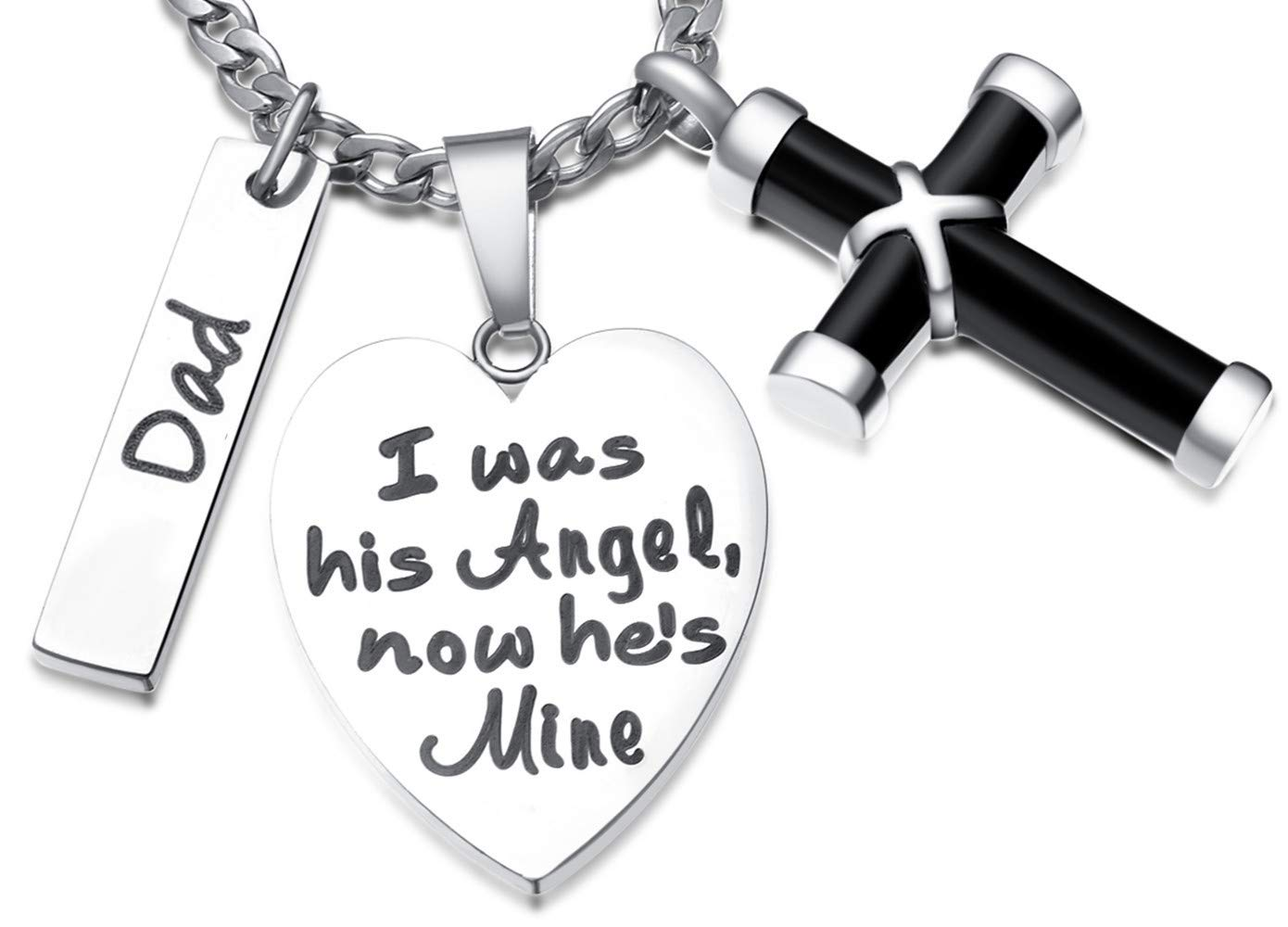 Love Memory Cross Urn Necklace Ashes Holder Keepsake for Dad Funeral Jewelry Pendants,I was His Angel, Now He's Mine.