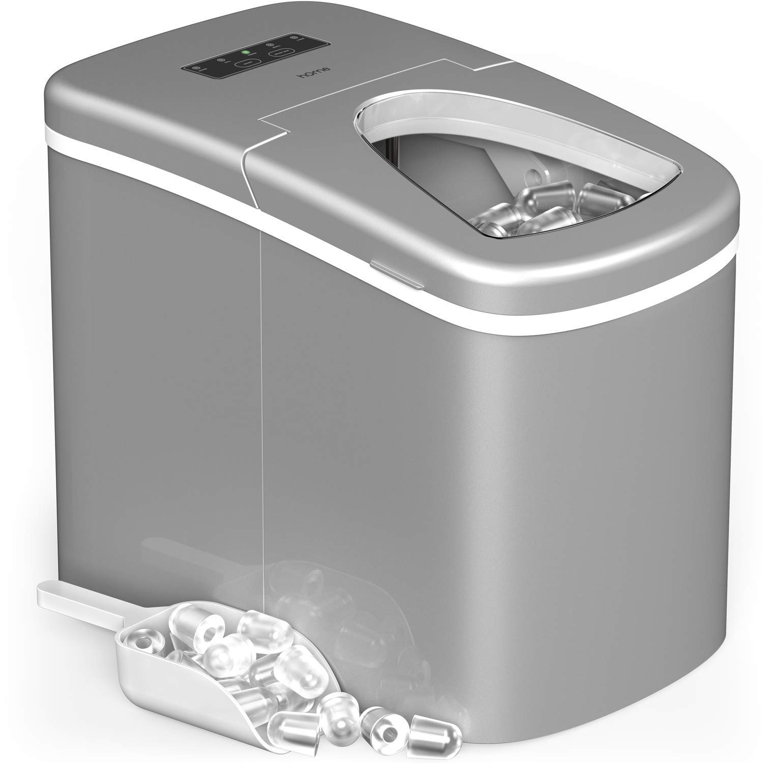 hOmeLabs Portable Ice Maker Machine for Countertop - Makes 26 lbs of Ice per 24 hours - Ice Cubes ready in 8 Minutes - Electric Ice Making Machine with Ice Scoop and 1.5 lb Ice Storage - Metallic Gray by hOmeLabs