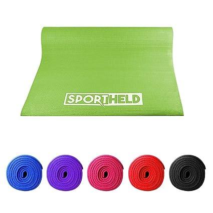 Sport Held® Profesional de yoga esterilla | 0,6 cm fina y ligera, antideslizante y aislante con correa, pilates de alfombrilla, esterilla de gimnasia, ...
