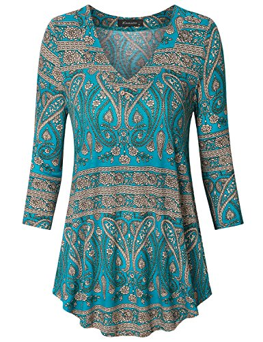 Knit Top Embellished V-neck - Vinmatto Women's 3/4 Sleeve V Neck Casual Flowy Tunic Top(M,Multi Green Blue)