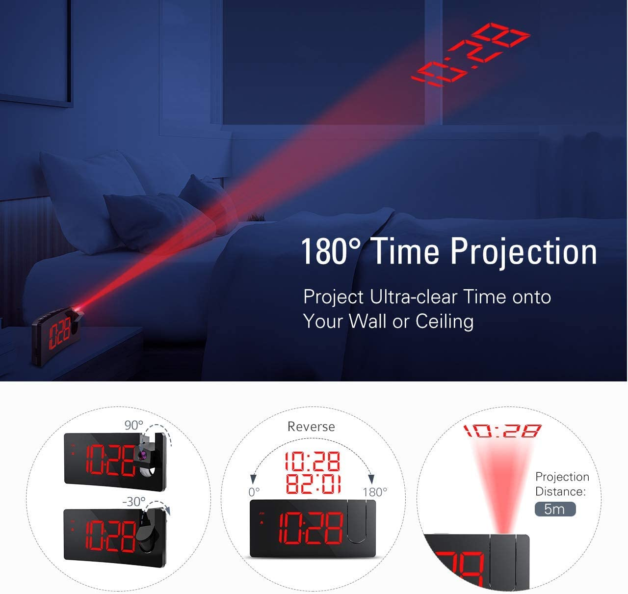 Snooze Modle Barcley Projection Alarm Clock Digital Alarm Clock for Bedroom Black 7 LED Screen,3-Color 4-Level Dimmer 180/° Rotatable Projector Dual USB Phone Charging Port Easy Operation