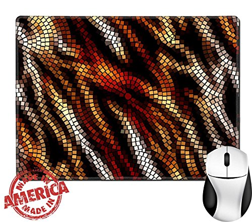"Luxlady Natural Rubber Mouse Pad/Mat with Stitched Edges 9.8"" x 7.9"" IMAGE ID: 31868355 Seamless background pattern Tiles in animal style (Glass Desk Stained Tigers)"