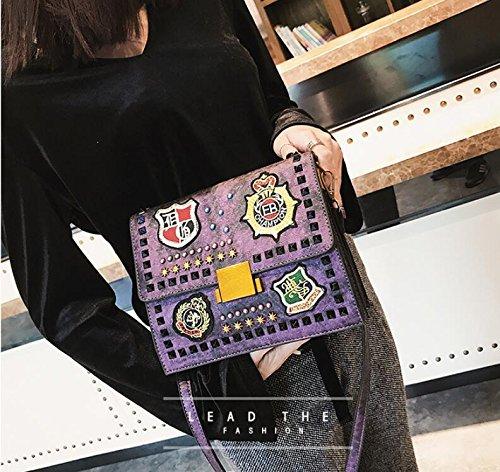 Sac de Femme petit bandoulière Filles de Sac fête main Sac Rétro Top Purple Handle insigne à Sacs mode Totes bandoulière rwS8rq0X