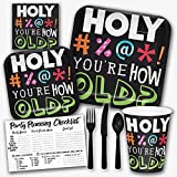 Holy Bleep You're How Old Funny Birthday Theme Party Supply Set - Serves 8 Guests