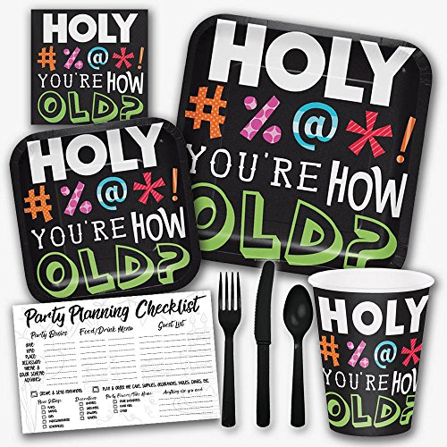 Holy Bleep You're How Old Funny Birthday Theme Party Supply Set - Serves 8 Guests by Honey Dew Gifts