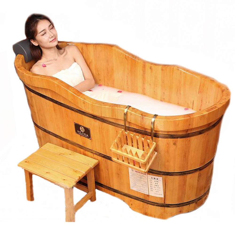 ZXDFG Cedar Wood Adult Bath Fumigation Wooden High Grade Barrel Wooden Bathtub Suitable for Family and Hotel Use,1006375cm