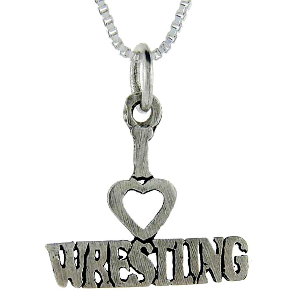 Sterling Silver I Love Wrestling 1 inch wide Word Pendant.