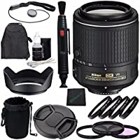 Nikon AF-S DX NIKKOR 55-200mm f/4-5.6G ED VR II Lens + 52mm 3 Piece Filter Set (UV, CPL, FL) + 52mm +1 +2 +4 +10 Close-Up Macro Filter Set with Pouch + Lens Cap + Lens Hood Bundle