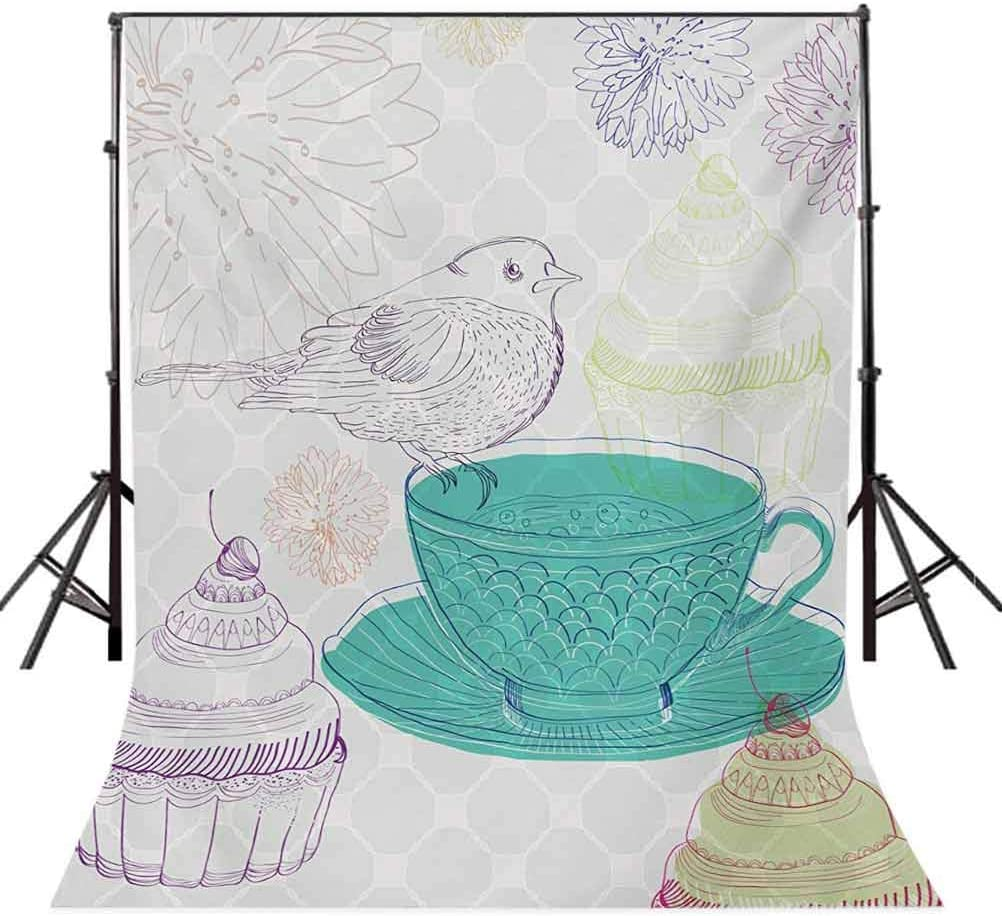 6.5x10 FT Backdrop Photographers,Floral Elements a Cute Bird in Pale Colored English Tradition Nature Image Background for Kid Baby Boy Girl Artistic Portrait Photo Shoot Studio Props Video Drape