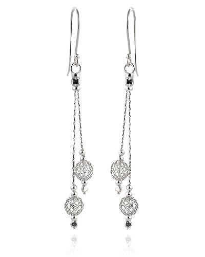 925 Sterling Silber Draht Net Mesh-Perle Ohrringe elegante Everyday ...