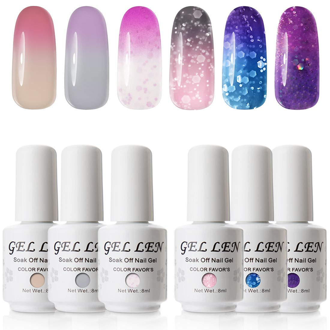 Gellen Gel Nail Polish Set - Color Changing Temperature Gel Series Pure Glitters Sparkle 6 Colors, Trendy Fun Nail Art Colors Home Manicure Nail Gel Kit