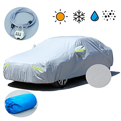 "Car Cover, 6 Layers All Weather UV Protection Windproof Snow-Proof Dust-Proof Scratch Resistant Universal Full Car Covers Fit for Sedan Wagon, Durable straps and Anti-theft lock (177"" - 191"") (Silver): Automotive"