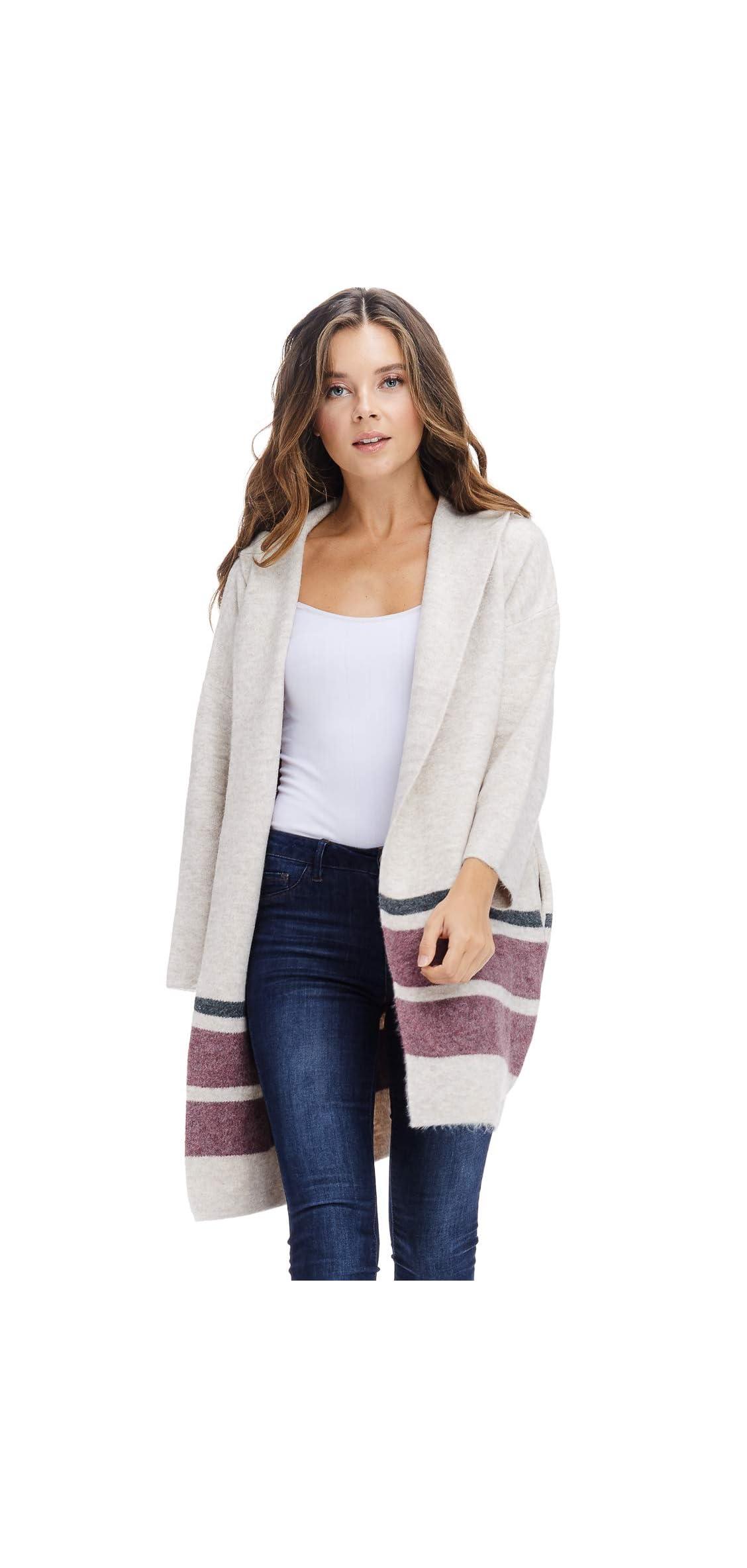 Womens Fall Hoodie Jacket Coat - Open Front