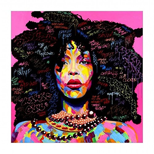 Canvas Painting Women African American Wall Art Sexy Girl Printed Painting on Canvas Wall Art Nude Prints Pictures Kit for Home Bedroom Decoration 24x24 inch Withframed