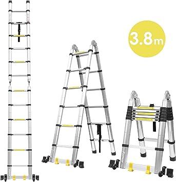 FIXKIT 3.8M Escalera Plegable Aluminio, Escalera Telescópica(1,9M+1,9M), Escalera Alta Multifuncional Portátil para Loft,12 Escalones Antideslizantes y Ruedas en Parte Inferior, 150kg: Amazon.es: Bricolaje y herramientas