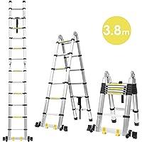 Fixkit 3.8M Escalera Plegable Aluminio, Escalera Telescópica(1,9M+1,9M), Escalera