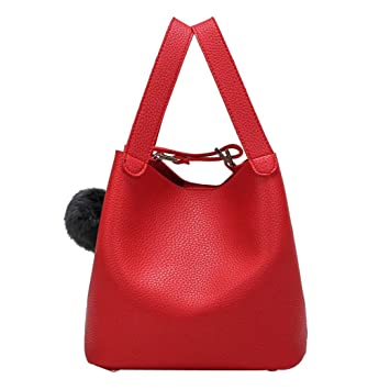 2931c1f5300 Women Bag,Todaies Women Bag Hairball Pure Color Handbags Cansual Bags  (231721cm, Red)  Beauty