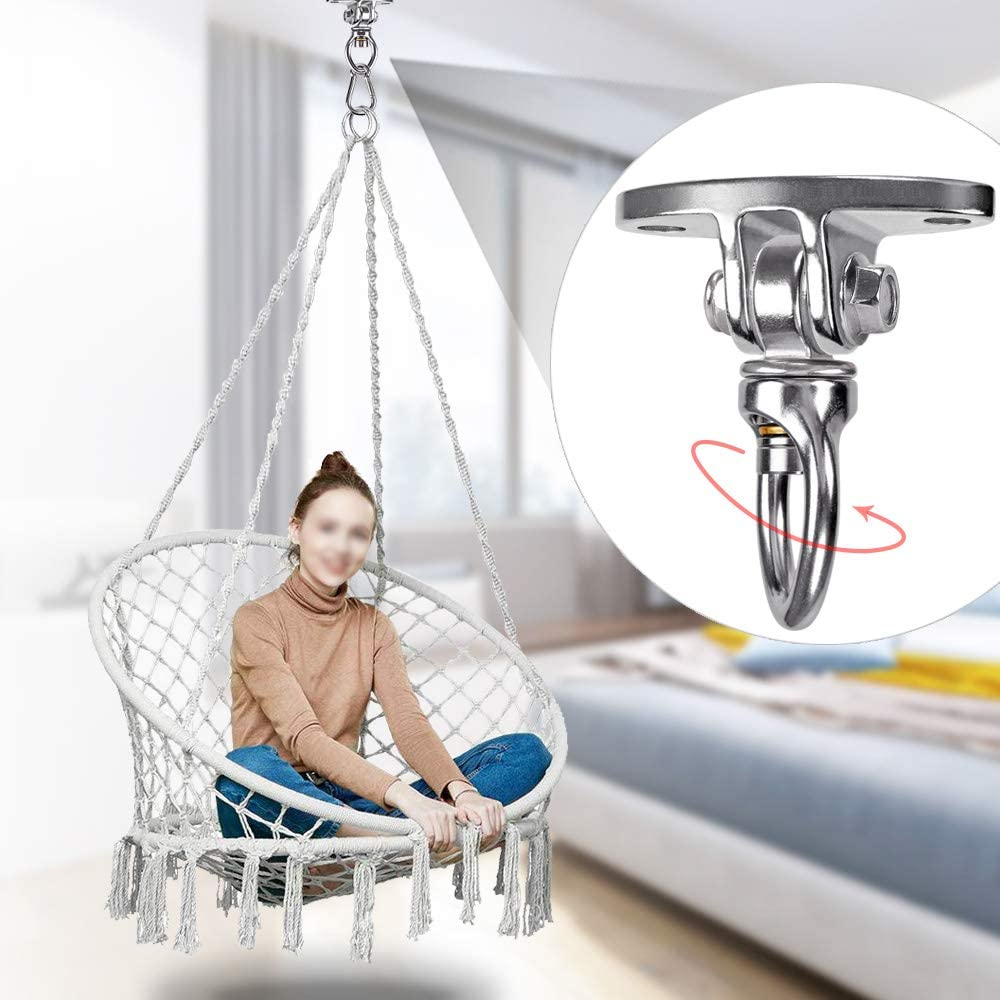 BeneLabel Permanent Antirust Stainless Steel Heavy Duty Swing Hanger with Bearing Yoga Hammock Chair Sandbag Swing Sets 800LB 360/° Swing 2 Screws for Wooden 2 Expansion Bolts for Concrete
