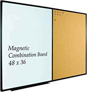 JILoffice Whiteboard & Bulletin Corkboard Combination, Combo Board 48 x 36 Magnetic Whiteboard, Black Aluminum Frame Wall Mounted Board for Office Home and School with 10 Push Pins