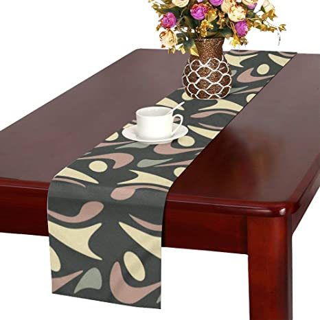 Amazon Com Apjdfnkl Runner Dining Table Beautiful Overlapping Leaves Runners For Table Coffee Table Runner 16x72 Inch For Dinner Parties Events Decor Home Kitchen