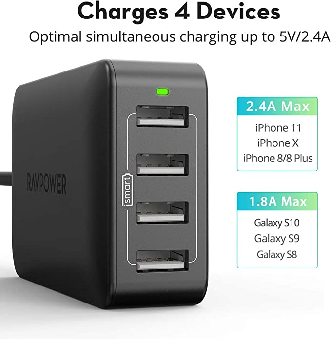 Amazon.com: RAVPower 4-Port USB Charger 40W 8A Multi Charger ...