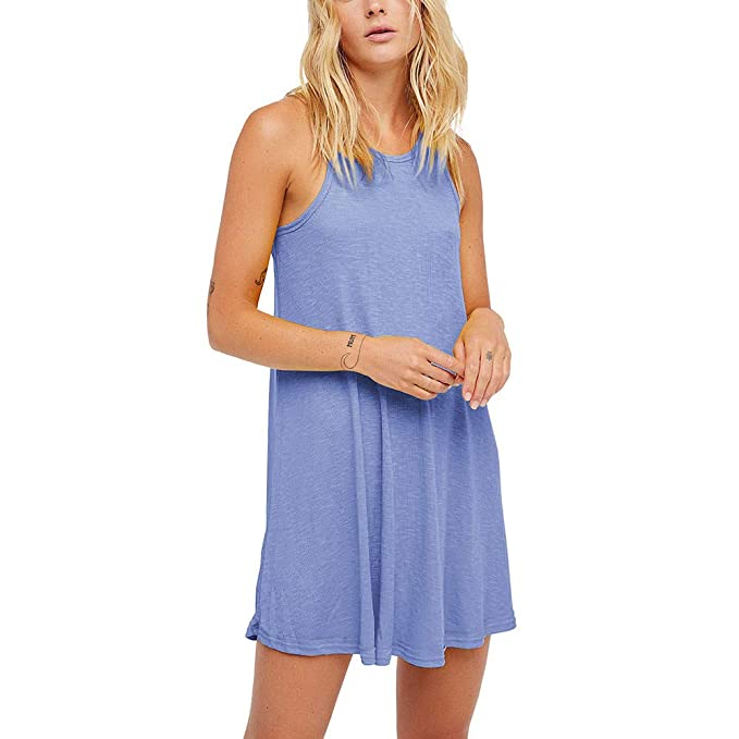 6bebc5e79b78f Amlaiworld Stilvoll Ärmellos Sommerkleid Elegant Party Sommer Dress  Trägertop Urlaub Kleider locker Sport Kleid