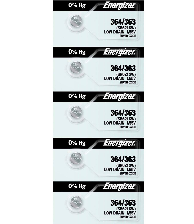 Energizer 364 – 363 1,55 V # 364/363 batería de bajo (SR621SW) Pack de 5 pilas.: Amazon.es: Amazon.es