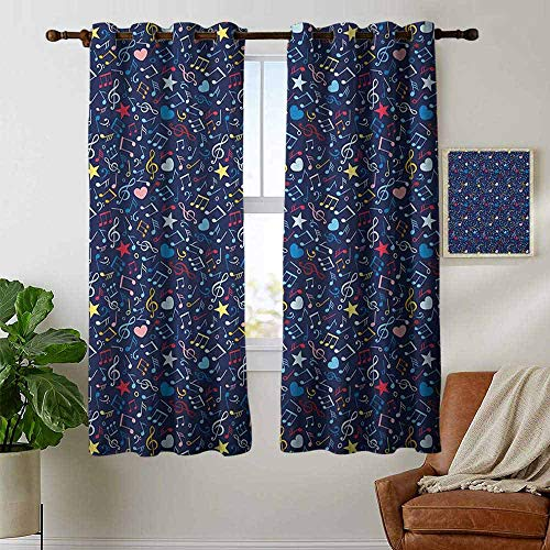petpany Blackout Curtains 2 Panels Music,Hearts Notes Stars Melodic Inspiration Musical Lifestyle Rhythm in My Heart Design, Multicolor,for Room Darkening Panels for Living Room, Bedroom 42