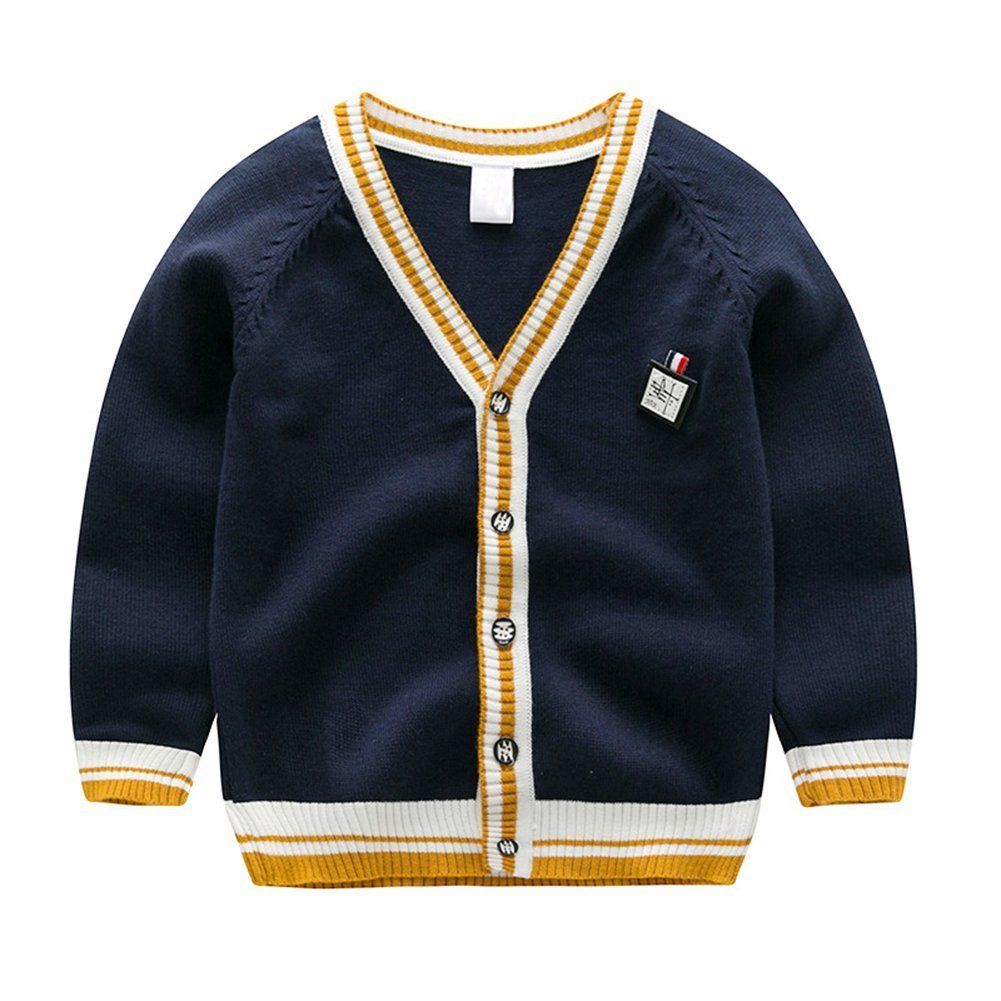 AIKSSOO Boys Sweater Cardigan Knitted Organic Cotton Button Crochet for Newborn Baby Size 5-6T (Navy Blue)