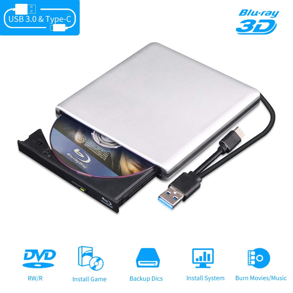 External Blu Ray DVD Drive 3D, USB 3.0 and Type-C Bluray CD DVD Burner Slim Optical Portable Blu-ray Writer for MacBook OS Windows xp/7/8/10, Linux, Laptop PC (Silver-Grey) by seawin