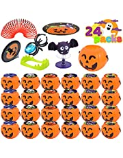 JOYIN 120 Pcs Halloween Game Toy Gifts for Kids, 24 Pack Prefilled Mini Pumpkin Buckets with Halloween Toy Spider Rings, Poppers, Spring Toys, Vampire Teeth and Spinning Tops for Kids Halloween Party