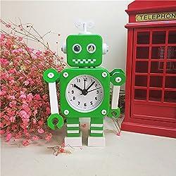 Ayzr Robot Alarm Clock Lovely Creative Cartoon Metal Bedroom Living Room Lounge Clock,Green