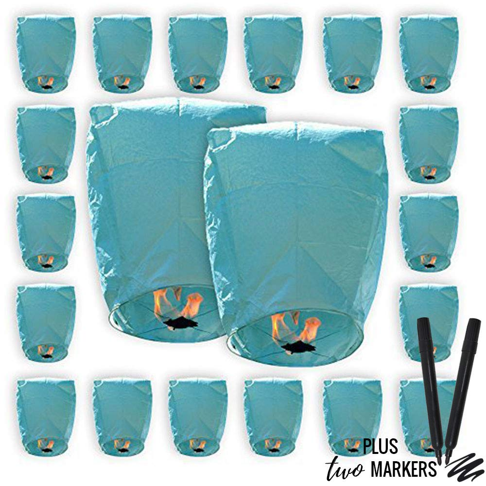 Just Artifacts 20pcs Mini (22 x 18 inches) ECO Wire-Free Flying Chinese Sky Lanterns with Markers (Set of 20, Eclipse, Blue) by Just Artifacts
